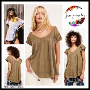 FREE PEOPLE BOHO FLOWY TEE PULLOVER TUNIC TOP A3C